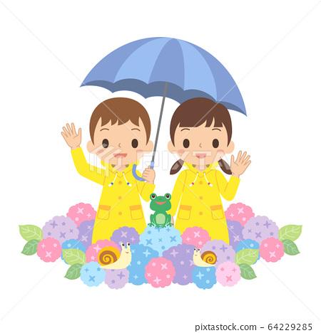 雨季,兒童指著雨傘,繡球花,青蛙,蝸牛 64229285