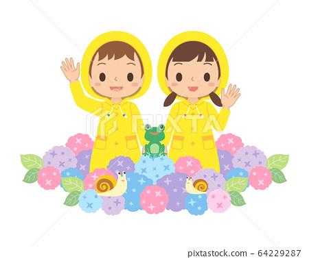 雨季雨孩子繡球青蛙蝸牛 64229287