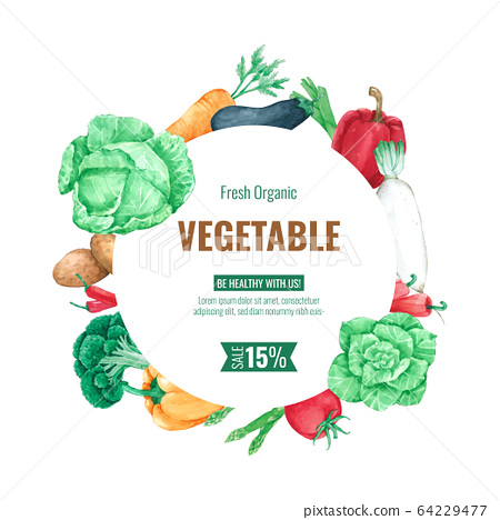 Vegetable frame background template for menu design and poster in watercolour 64229477