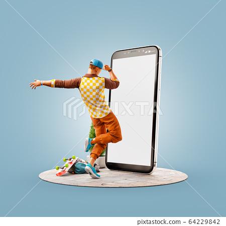 Unusual 3d illustration smart phone application 64229842
