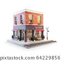 Unusual 3d illustration of a train station 64229856