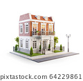 Unusual 3d illustration of a beautiful house with 64229861