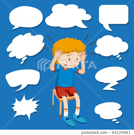 Different shapes of speech bubbles with sick boy 64229961