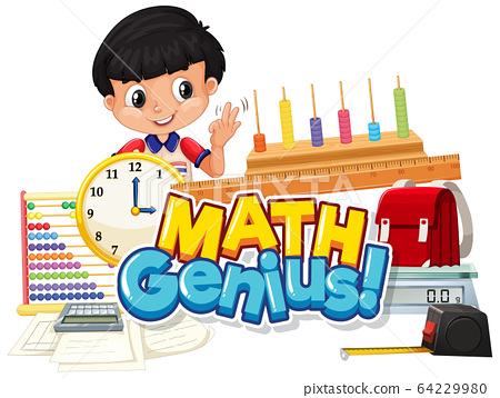 Font design for word math genius with boy and 64229980
