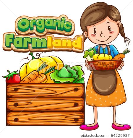 Font design for wrod organic farmland with farmer 64229987