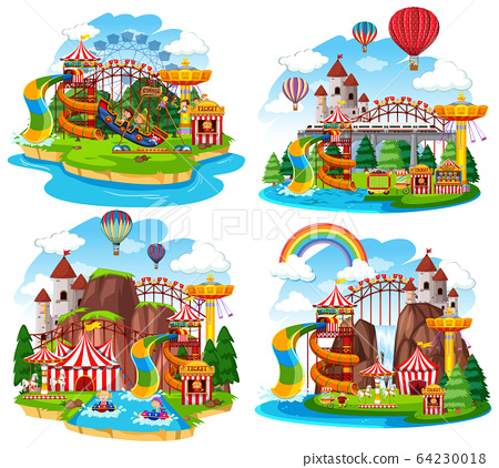 Themepark scene with many rides and waterslides 64230018