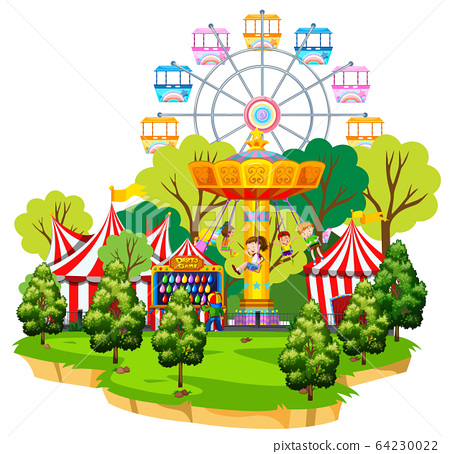 Scene with circus rides on the island 64230022