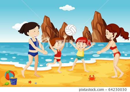 Ocean scene with people having fun on the beach 64230030