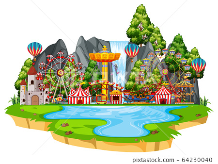 Scene with circus rides on the island 64230040