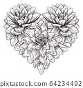 Heart Flower Love Floral Engraved Etching 64234492