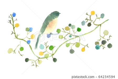 Birds perching on tree branches with fruits Watercolor painting postcard material 64234594