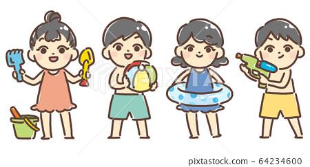 바다와 수영장에서 노는 아이들 64234600