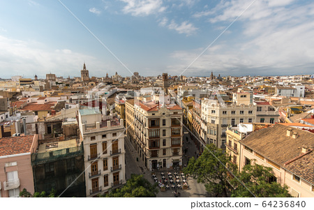 Panoramic aerial view old town of Valencia, Spain, 64236840