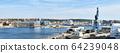 Panorama of the port of Aarhus in Denmark 64239048
