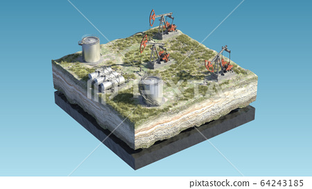 Oil pump jack at a drill site in a desert with oil barrels and refinery tanks on a floating island. 3d illustration. Perfect for explainer or infographic. 64243185