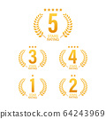 5 star rating. Badge with icons on white background. Vector illustration. 64243969