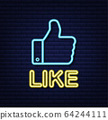 Blue like neon on light background. Thumb up icon. 64244111