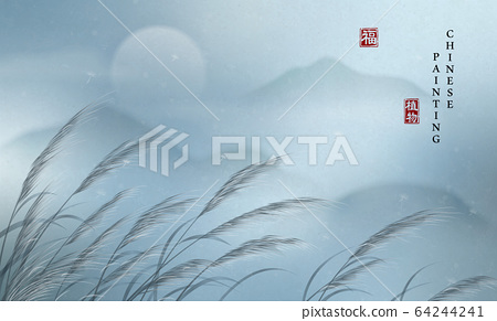 Chinese ink painting art background plant elegant landscape view of tranquil foggy early morning mountain and reed. Chinese translation 64244241