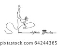 Rhythmic gymnastics competition vector minimal banner. Girl, women with ribbon. Sport event. Gymnast dances. One continuous line drawing. 64244365
