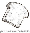 Slice of bread or bun, bakery monochrome sketch outline 64244553