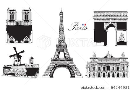 Set of landmarks of Paris 64244981