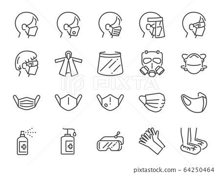 Covid-19 protection equipments line icon set. 64250464