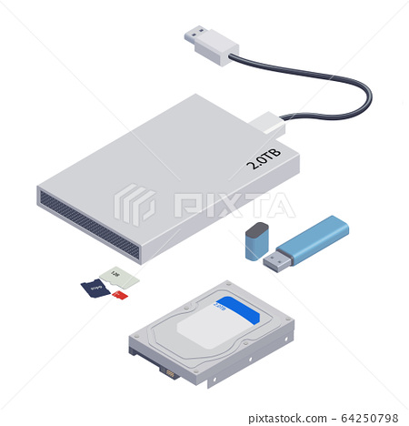 Isolated Illustration of Computer Memory Devices, Hard Disk. 64250798