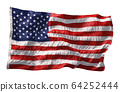 American flag waving in the wind isolated on white background. 3D 64252444