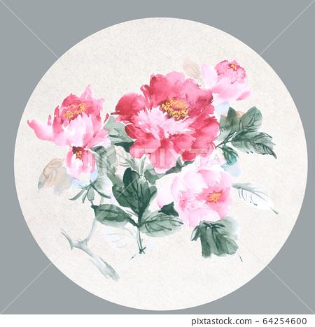 色彩豐富的花卉素材組合和設計元素 64254600