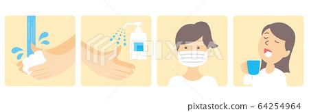 washing hands mask gargling illustration vector 64254964