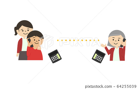 Telephone parent and child elderly woman 64255039