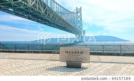 Akashi Kaikyo Bridge and Stone Monument on the Kobe side 64257169