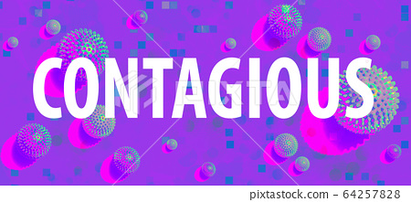 Contagious theme with viral objects 64257828