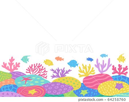 珊瑚礁和熱帶魚的插圖 64258760