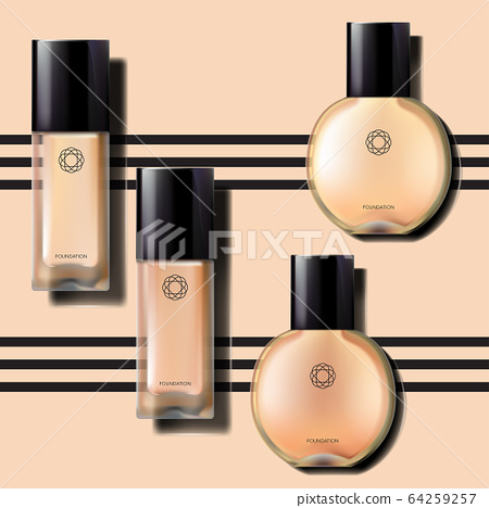 Vector Foundation Glass Bottle with Glossy Black Cap 64259257