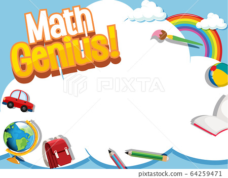 Frame design template with school items and sky 64259471