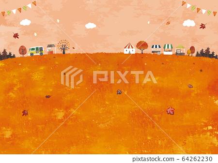 秋天的草地和馬爾凱水彩 64262230