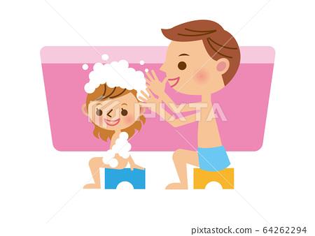 목욕 친자 여자 64262294