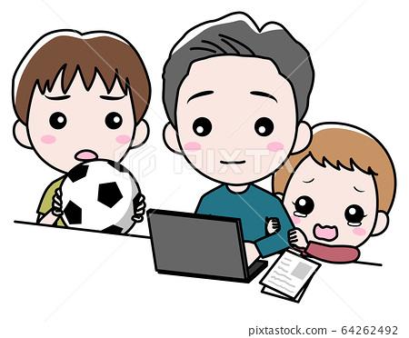 컴퓨터로 작업을하는 남성과 어린이 64262492