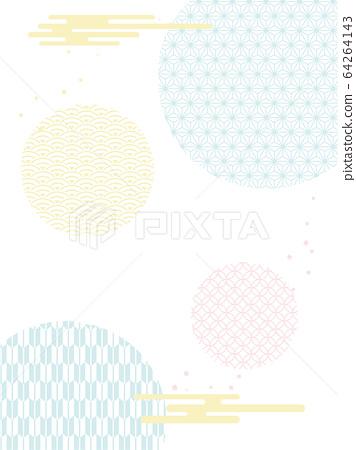일본풍 무늬, 벡터, 구름 64264143