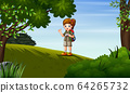 Young girl exploring the forest 64265732