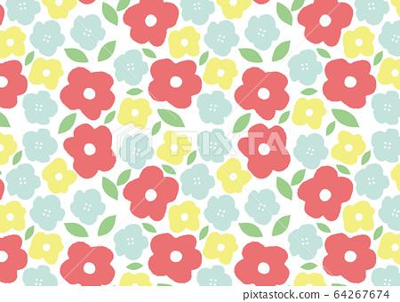 Pastel floral pattern wallpaper 64267674