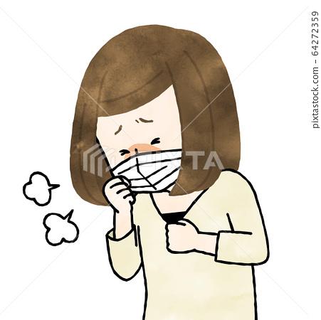 不適的女人咳嗽水彩 64272359