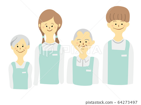 Old and young men and women wearing aprons 64273497