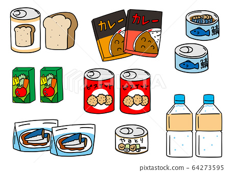 Canned emergency food and preserved food, water, food, bread 64273595