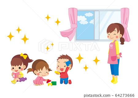一名托兒所婦女,她為在室內玩耍的孩子而通向美麗的空氣感到放心 64273666