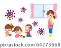 A child playing indoors and a nursery woman suffering from a virus in the air 64273668