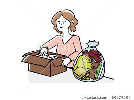 一個女人在整理東西 64274306