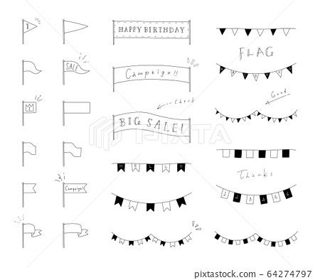 標記手繪風格裝飾/材料/插圖/框架/套裝 64274797
