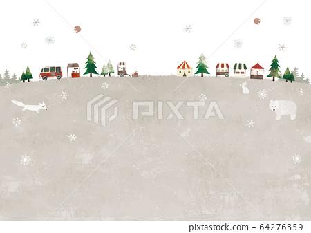 雪草甸,聖誕市場和動物 64276359